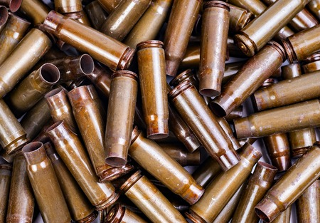 the texture of the metal casings of spent Kalashnikov Stock Photo