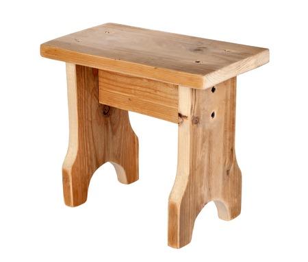 Handmade wooden stool isolated on white background Stock Photo