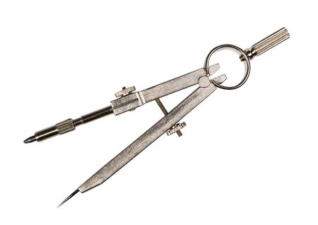 Metallzirkel zum Zeichnen. Tischlerkompass, Teiler, isoliert auf weißem Hintergrund Standard-Bild