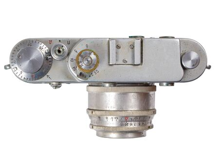 Old camera view from above insulated on a white background Stok Fotoğraf