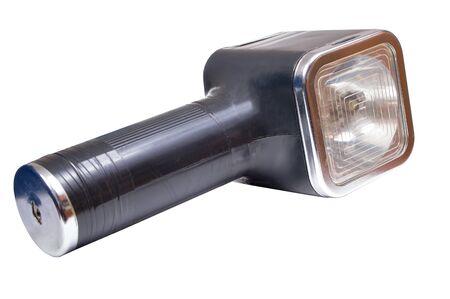 Old vintage flash light, on white background, isolated.