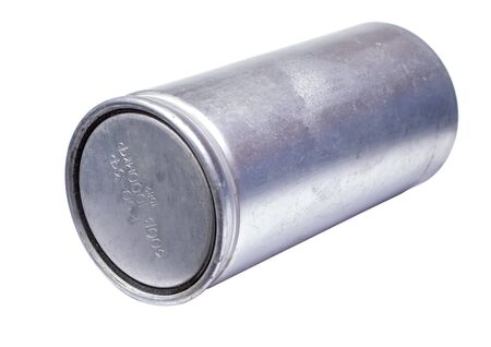Silver capacitor isolated on a white background