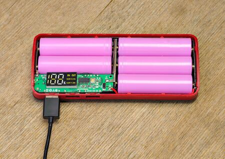 Power Bank with USB cable. Accumulator charging. External battery Stok Fotoğraf
