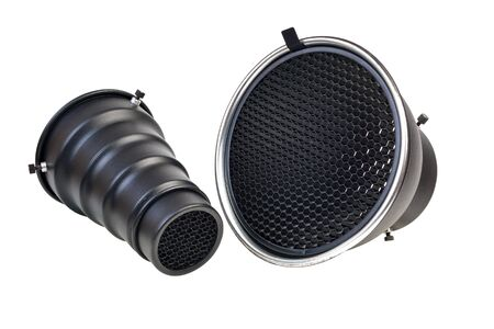 Reflector and snut with honeycomb grid accessory for studio strobes and flashes Isolated on White Background