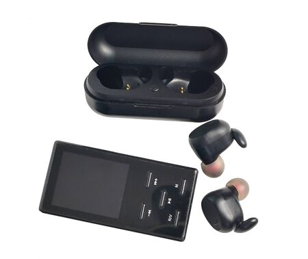 Wireless earphones.wireless headphones in the case of charging and mp3 pleer isolated on white background Stock fotó