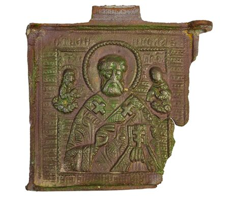 ancient copper icon Nicola the miracle worker of the 18th century