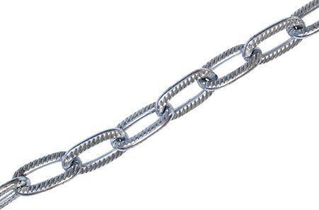 metallic chain isolated on white background closeup Stock Photo