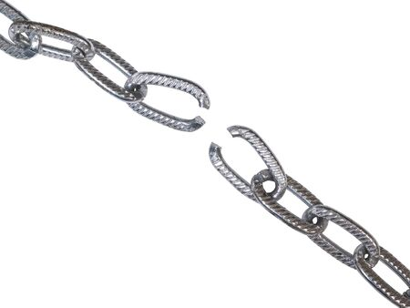 metal chain with torn links isolated on a white background