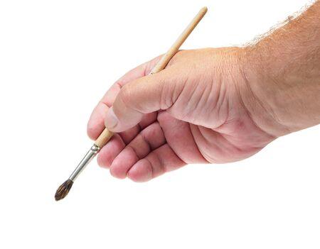 hand paint brush set tool art on white background