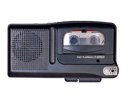 portable analog voice recorder isolated on white background