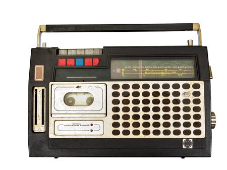 Retro radio and tape player on white background, Cassette player Stok Fotoğraf