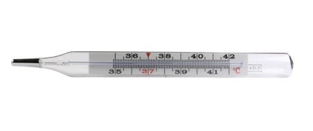 glass mercurial thermometer divided in Celsius degrees photo