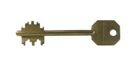 coppery: Vecchia chiave di grande porta giallo su sfondo bianco