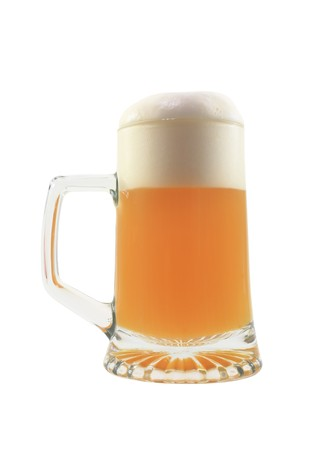 isolated glass of beer on the white photo
