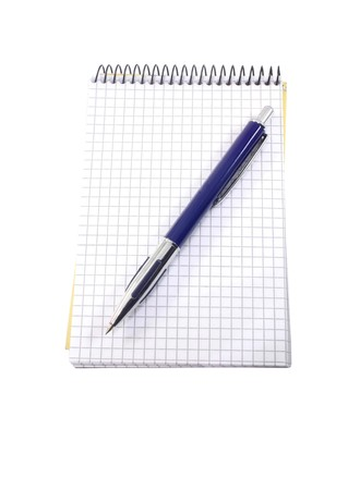 isolated notebook and pen on the white Stock Photo - 7293204