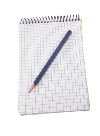 isolated squared notebook and pen on the white Stock Photo - 7323288