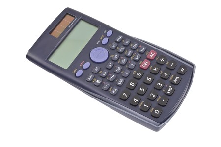 scientific electronic calculator isolate on the white photo
