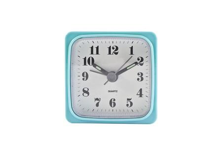 quarz: plastic alarm clock isolated on the white Stock Photo