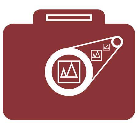 ブリーフケースのベクトル図と少ないカメラ。  イラスト・ベクター素材