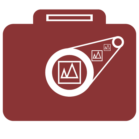 Camera less with briefcase vector illustration.