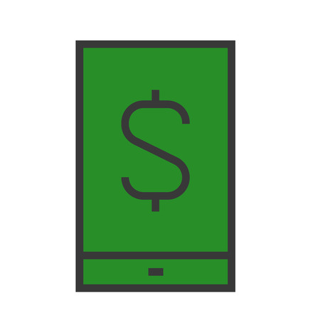 A smartphone with a dollar bill on white background. Illustration