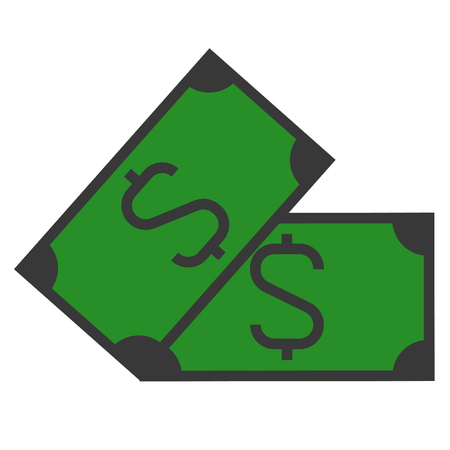 A dollar sign on paper bill illustration.
