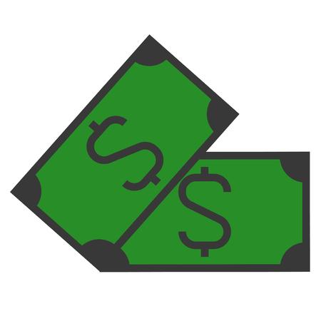 A dollar sign on paper bill illustration.