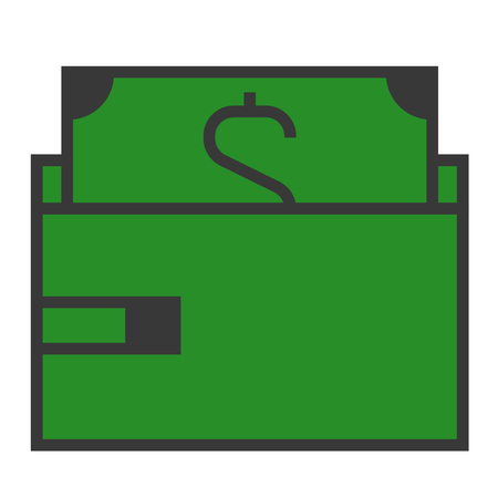 A purse with a dollar bill on white background. Ilustracja