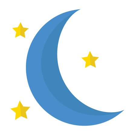 A moon with stars icon on white background.