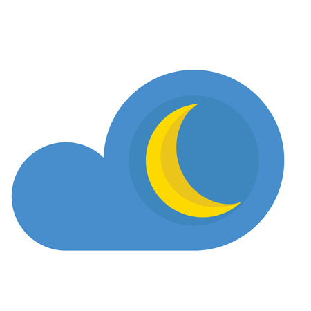 A cloud with moon icon on white background. Ilustracja