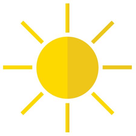 Een zonpictogram op witte achtergrond.