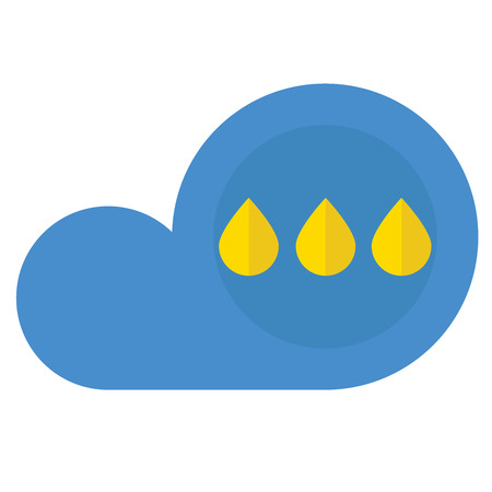 A cloud with rain icon on white background.
