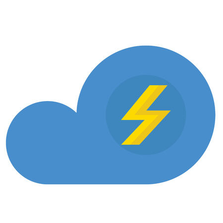 A cloud with lightning icon on white background.