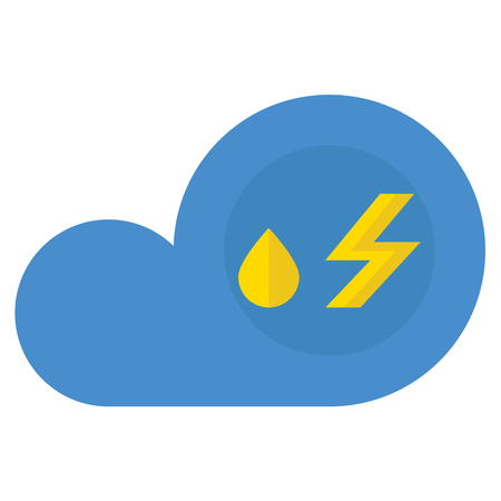 A cloud with rain and lightning icon on white background. Illustration