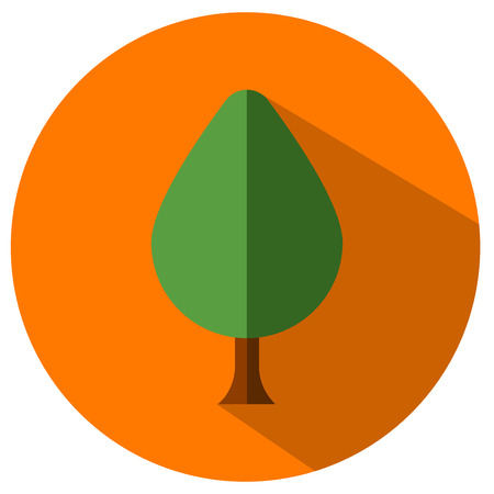 Round flat tree icon on a plain background. Çizim