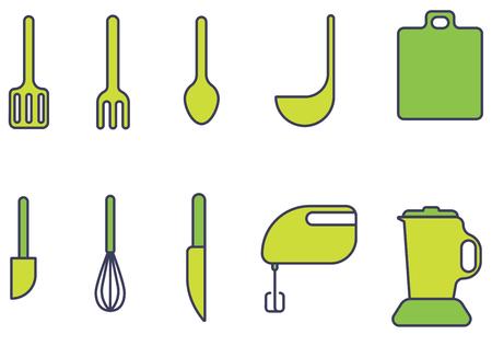 Icon set Kitchen appliances and equipment