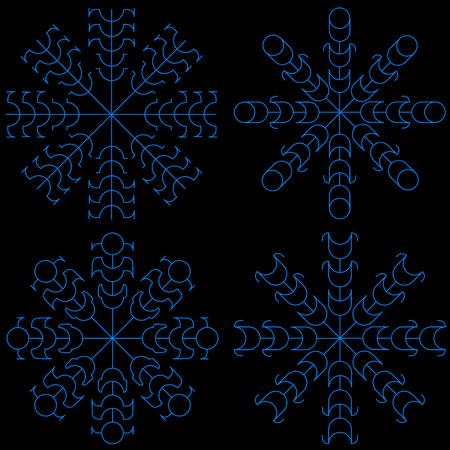 Snowflakes set in dark background Ilustracja