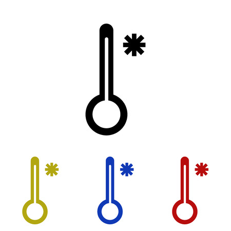 Thermology, meaning cold icon on white background illustration. Çizim