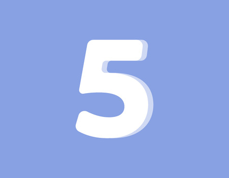 Five on a light purple background.