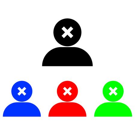 delete user glyph icon. Vector illustration. Web icon