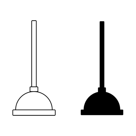 Toilet plunger bathroom equipment icon vector. Çizim
