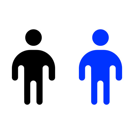 Human flat icon simple vector illustration. Black and Blue color