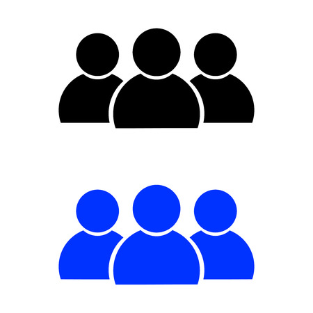 People icon. vector illustration. Black and Blue color