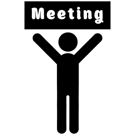 Man with a poster meeting, Vector Illustration on the white background Reklamní fotografie - 99189751