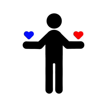 Man holds the heart icon, Vector Illustration on the white background.