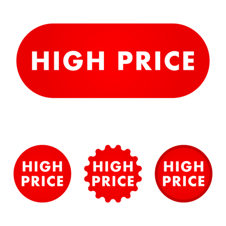 High price button. Red color sign. Vector illustration Illustration