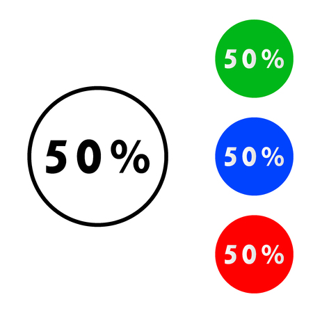 Fifty percent icon. vector illustration. flat and outline style