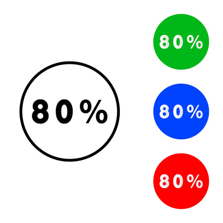 Eighty percentage circle icon. vector illustration. flat and outline style