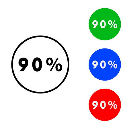 Ninety percentage circle icon. vector illustration. flat and outline style
