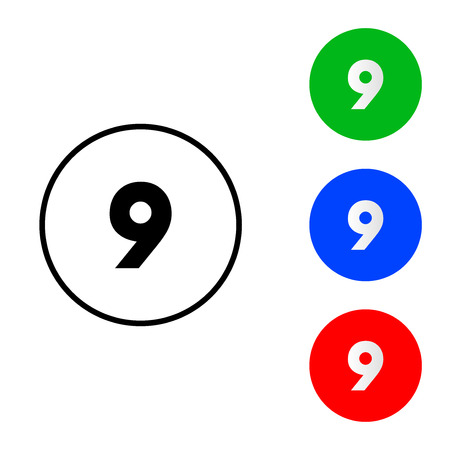 Number 9 icon vector. vector illustration. flat and outline style